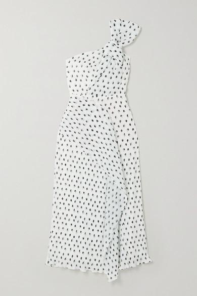 Thumbnail for your product : Roland Mouret Giza Knotted Polka-dot Plisse-chiffon Midi Dress - White