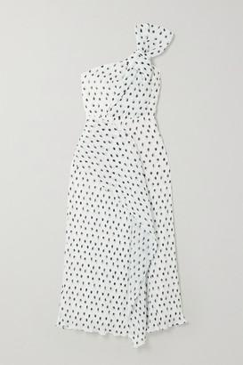Roland Mouret Giza Knotted Polka-dot Plisse-chiffon Midi Dress