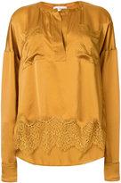 Faith Connexion lace hem silk blouse