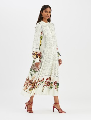 Oscar de la Renta Floral Calligraphy Dress
