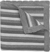 Elegant Baby 100% Cotton Sweater Knit Blanket, Gray Stripes, 30 X 40 by
