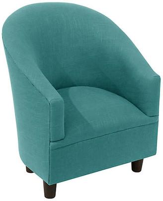 One Kings Lane Ashlee Kids' Chair - Teal Linen - frame, espresso; upholstery, teal