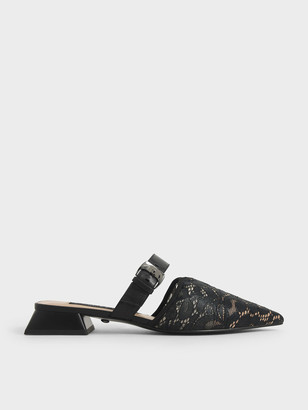Charles & Keith Leather Lace Pointed Mules