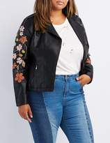 Charlotte Russe Plus Size Embroidered Faux Leather Moto Jacket