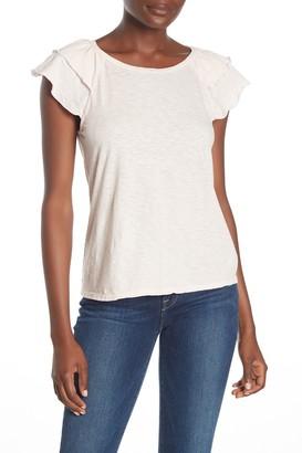 Velvet Ruffle Sleeve Slub T-Shirt