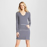 Merona Women's Long Sleeve Hooded Knit Coverup Dress - Navy Stripe