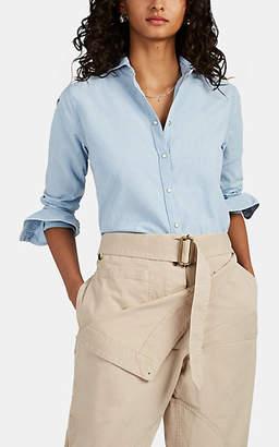Barneys New York Women's Cotton Chambray Shirt - Lt. Blue