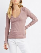 Charlotte Russe Ribbed V-Neck Fitted Tee