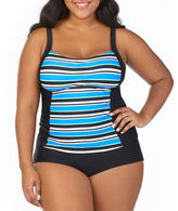ST. JOHN'S BAY St. John's Bay Pacific Stripe Peasant Tankini Swimsuit Top-Plus