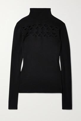Chloe - Cutout Wool-blend Turtleneck Sweater - Black