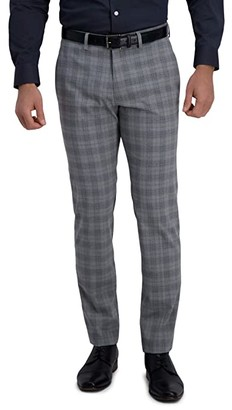 Kenneth Cole Reaction Stretch Traditional Plaid Slim Fit Flat Front Flex Waistband Dress Pants (Light Grey) Men's Dress Pants