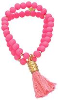 Blee Inara Double Layer Beaded Tassel Stretch Bracelet