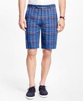 "Brooks Brothers Plaid 11"" Linen Bermuda Shorts"