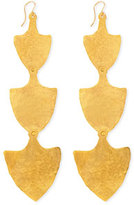 Devon Leigh 18k Gold Triple-Shield Earrings