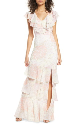 WAYF The Campbell Ruffle Tiered Column Gown
