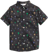 H&M Short-sleeved Cotton Shirt - Black/palms - Kids