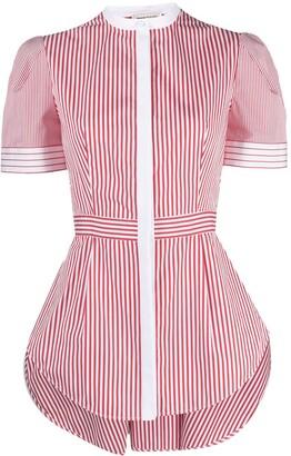 Alexander McQueen Pinstripe-Print Short-Sleeve Top
