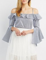 Charlotte Russe Striped Convertible Cold Shoulder Top