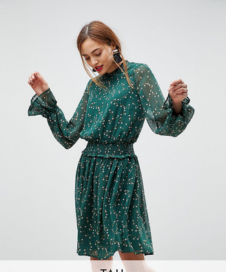 Y.A.S Tall ditsy floral midi skater dress in green