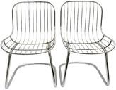One Kings Lane Vintage 60's Italian Chrome Slipper Chairs - Set of 2 - Jacki Mallick Designs - silver/brown