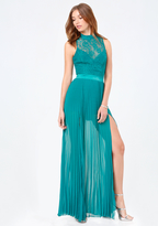 Bebe Lace Bodice Pleated Gown