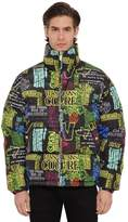 Versace Jeans Couture Graffiti Print Down Jacket