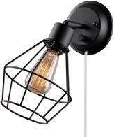 Globe Electric 1-Light Black Shade Plug-in Wall Sconce with Clear 6 in. Cord