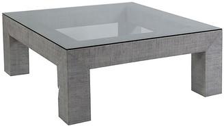Artistica Precept Square Raffia Coffee Table - Light Gray frame, light gray; glass, clear
