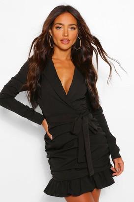 boohoo Rouched Tie Waist Plunge Blazer Dress