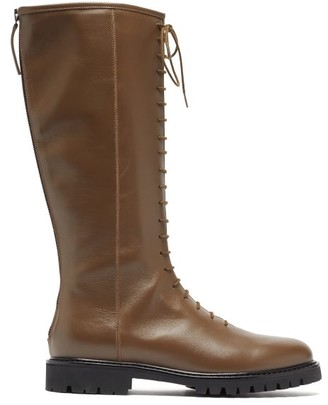 LEGRES Lace-up Knee-high Leather Combat Boots - Khaki