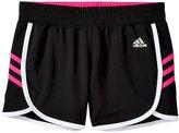 adidas 3 Stripe Knit Short (Kid) - Black/Shock Pink-Small