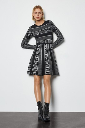 Contrast Mixed Spot Stripe Knit Dress