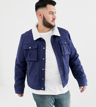 Another Influence PLUS Faux Suede Jacket With Borg Collar-Navy