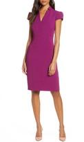 Tahari Star Neck Cap Sleeve Stretch Crepe Sheath Dress