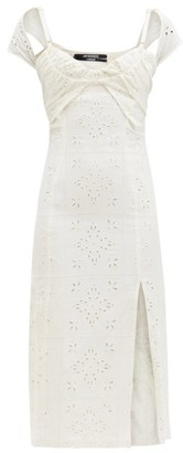 Jacquemus Tovallo Broderie-anglaise Linen-blend Midi Dress - Ivory
