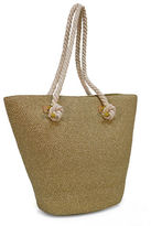 Magid Large Metallic Straw Tote Bag