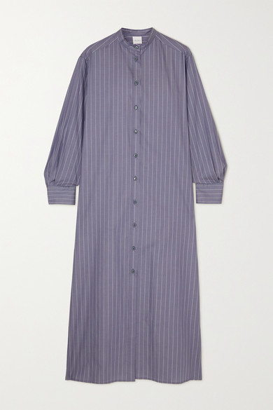 Max Mara + Leisure Ussuri Pinstriped Cotton-poplin Shirt Dress - Blue