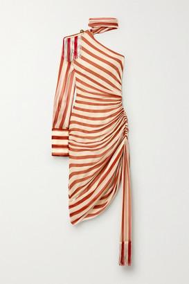 Monse One-sleeve Tie-neck Fringed Striped Plisse Silk-chiffon Dress - Ecru