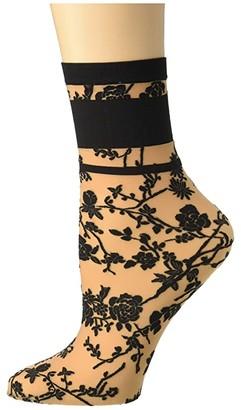 Wolford Gloria Socks (Gobi/Black) Women's Crew Cut Socks Shoes
