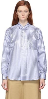 Comme des Garçons Shirt Blue and White Laminated Finish Stripe Shirt