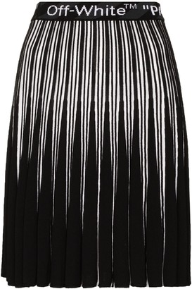 Off-White Logo Waistband Pleated Skirt
