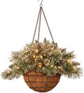 NATIONAL TREE CO National Tree Company 20 Glittery Bristle Pine Battery-Operated LED Hanging Basket with Timer