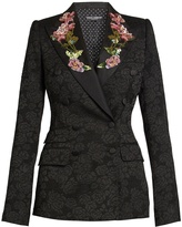 Dolce & Gabbana Embellished-rose double-breasted jacquard jacket
