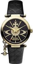 Vivienne Westwood Women's Black Vv006Bkgd Orb Ii Gold-Plated And Leather Watch