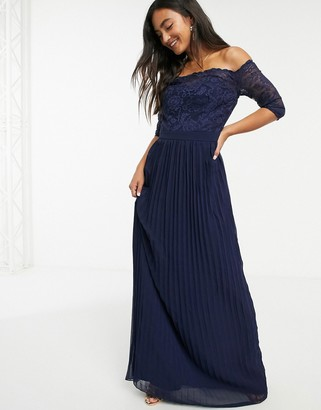 Chi Chi London lace 3/4 sleeve bardot maxi dress in navy