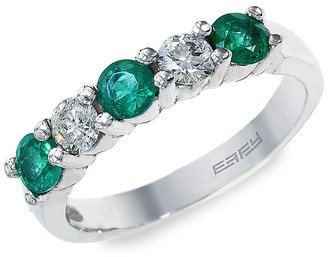 Effy 14K White Gold, Emerald Diamond Ring
