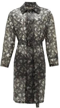 Fendi Spiral-print Organza Raincoat - Mens - Black Green