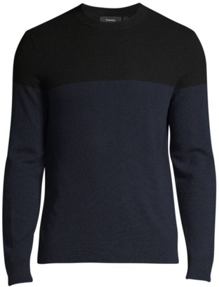 Theory Hilles Colorblock Cashmere Crew Sweater