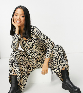 ASOS DESIGN petite button front relaxed jumpsuit in animal print