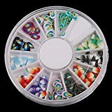 Stacy Adams Wheel Fimo Glitter Mini Smiling Nail Art Random Mixed 120pcs Slice Patterns Feather